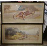 Ernest Montant (1879-1909), lithograph, 'En Visite: Le Levrier et L'Hirondelle Renault' and