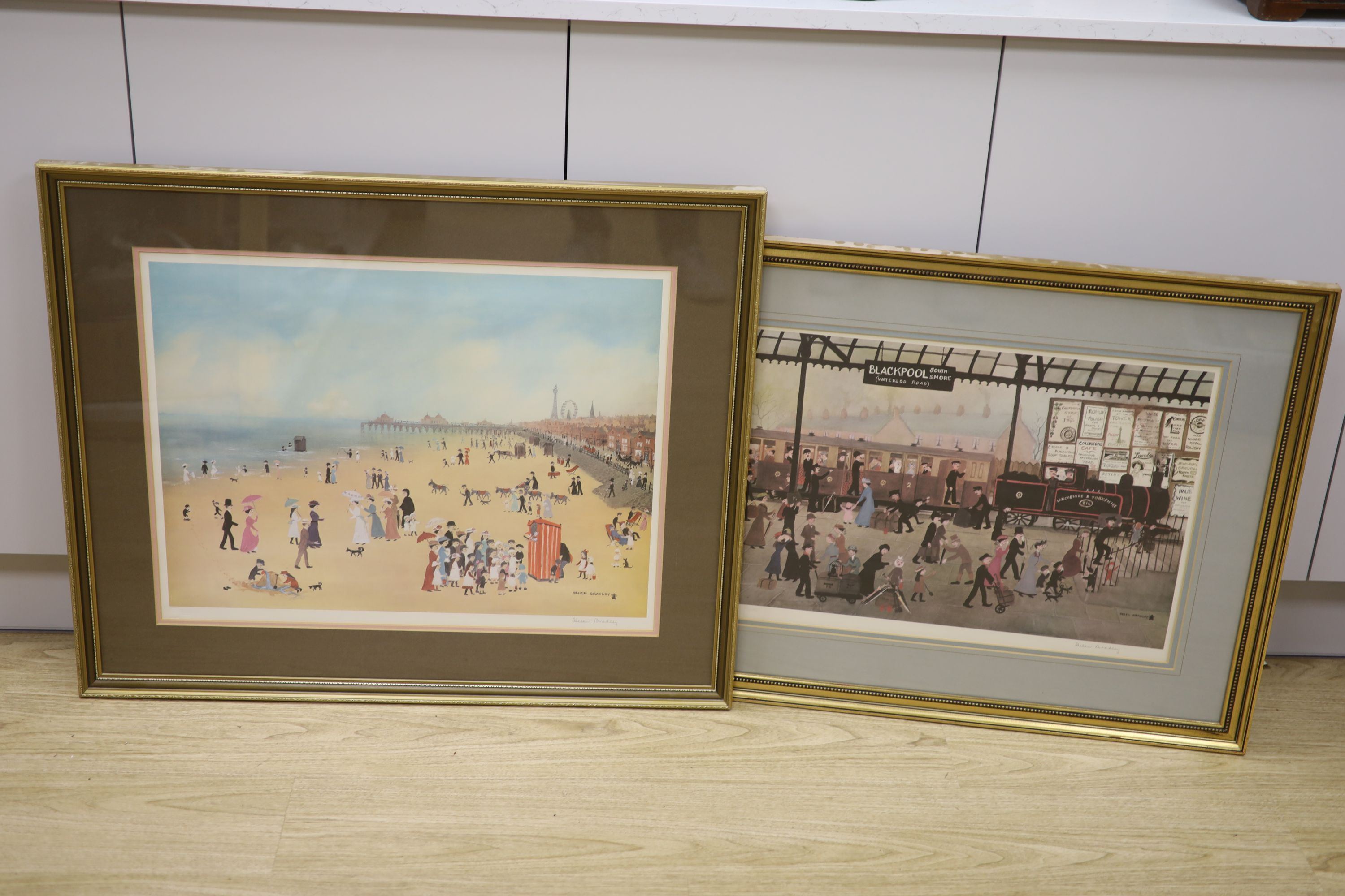 Helen Bradley, two signed prints, Blackpool Station and Blackpool Sands, both signed in pencil,