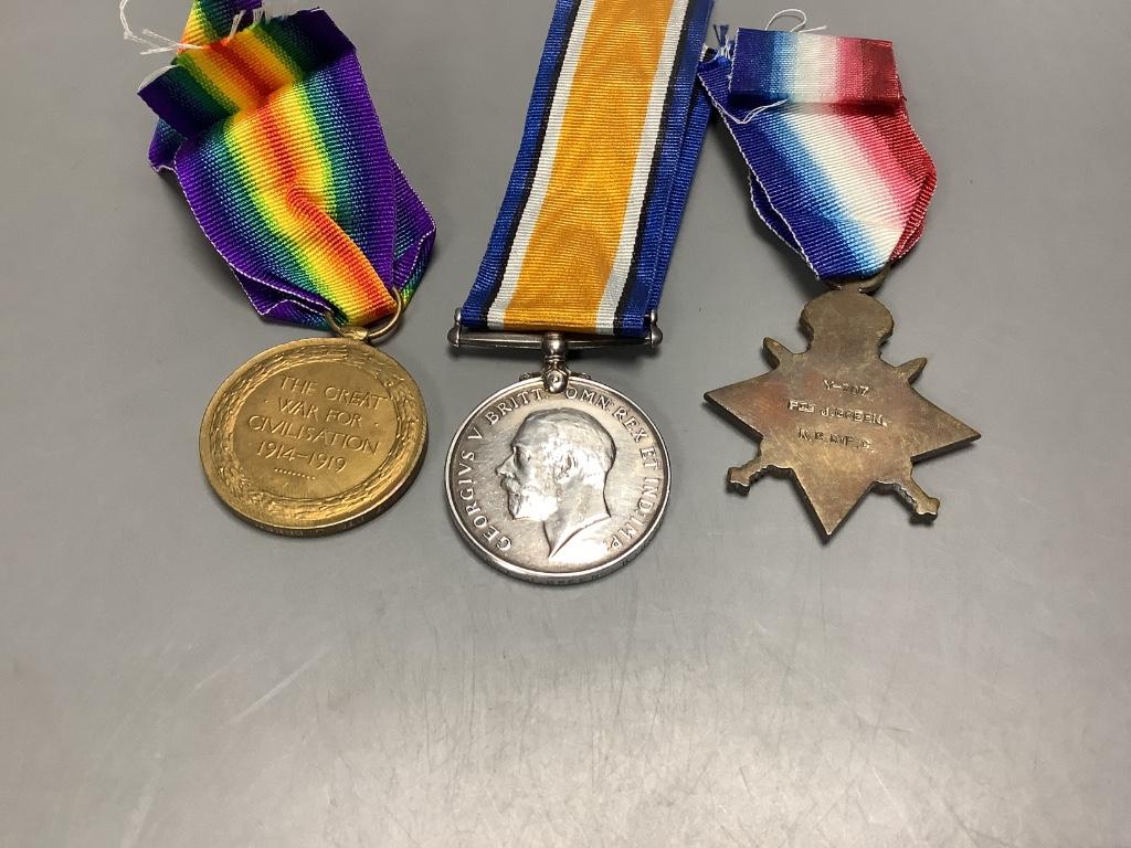 Two WW1 trios to SR3929 Gnr. G.Gration, R.A. & Y-707 Pte. J.Green, Kings Royal Rifle Corps - Image 3 of 4
