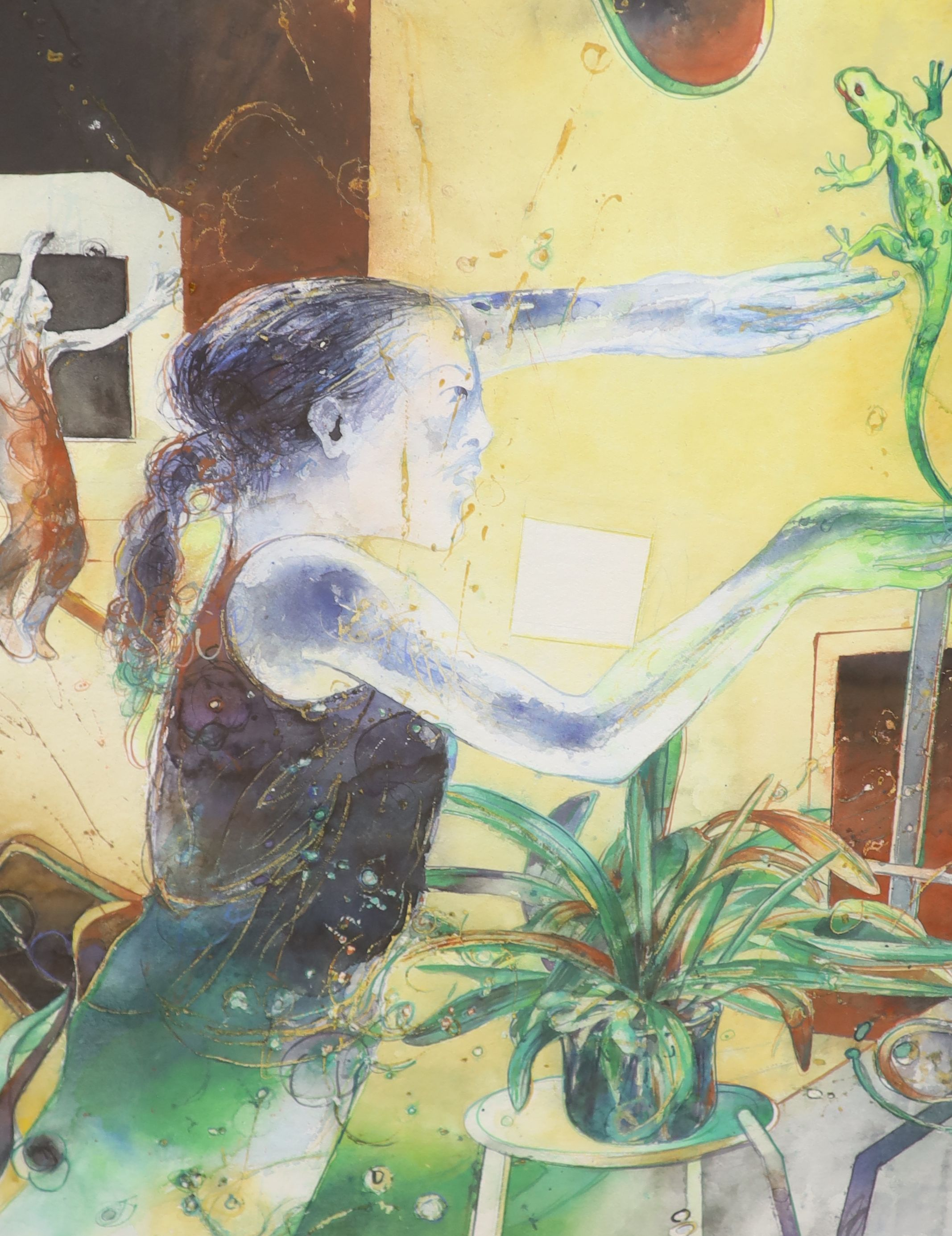 Bob Ballard, watercolour, Girl with a lizard, Bankside Gallery Exhibition label verso, 78 x 58cm