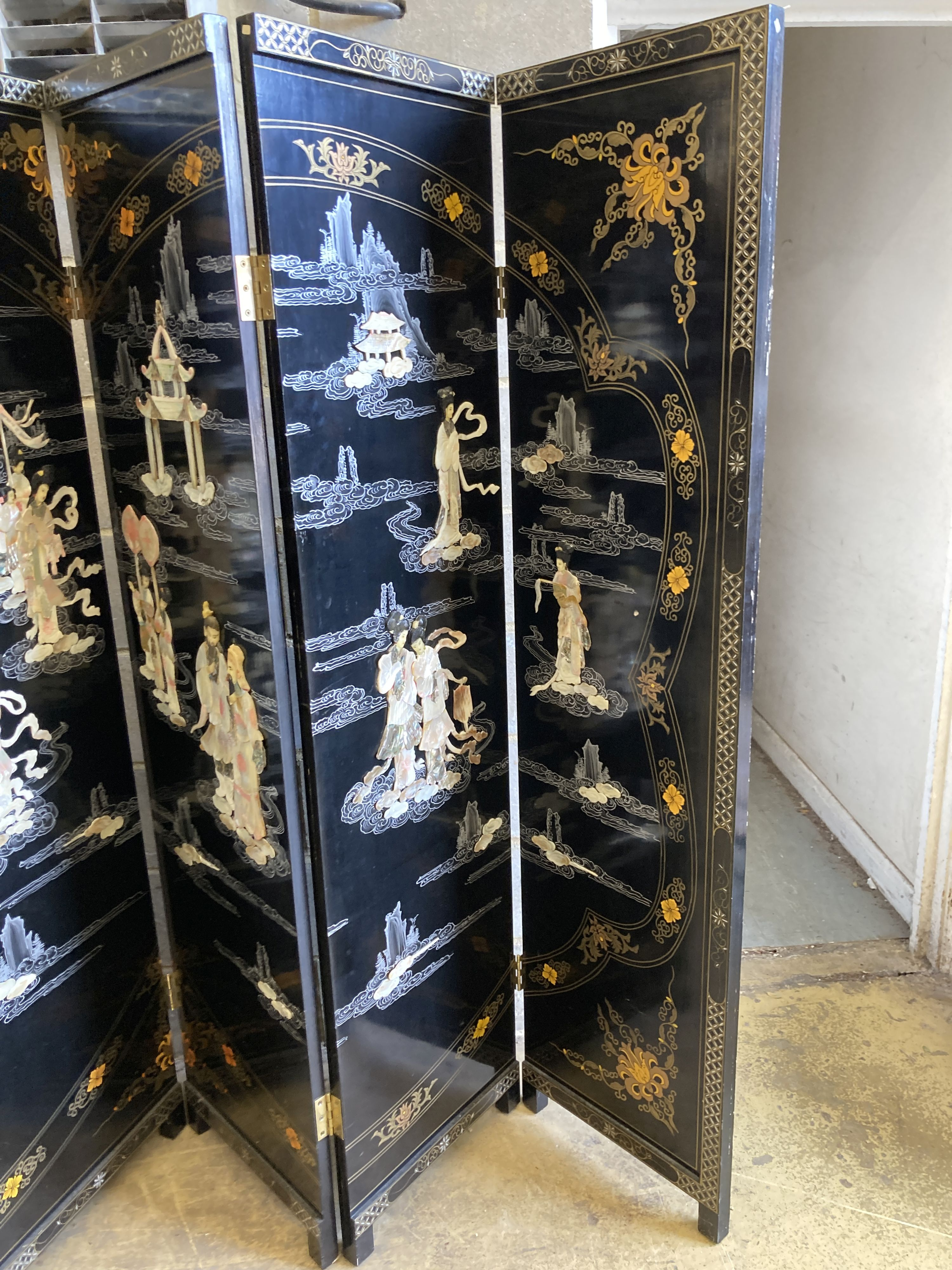 A 1920's - 30s Chinese inlaid mother of pearl six fold screen, each panel 45cm wide, height - Image 4 of 5