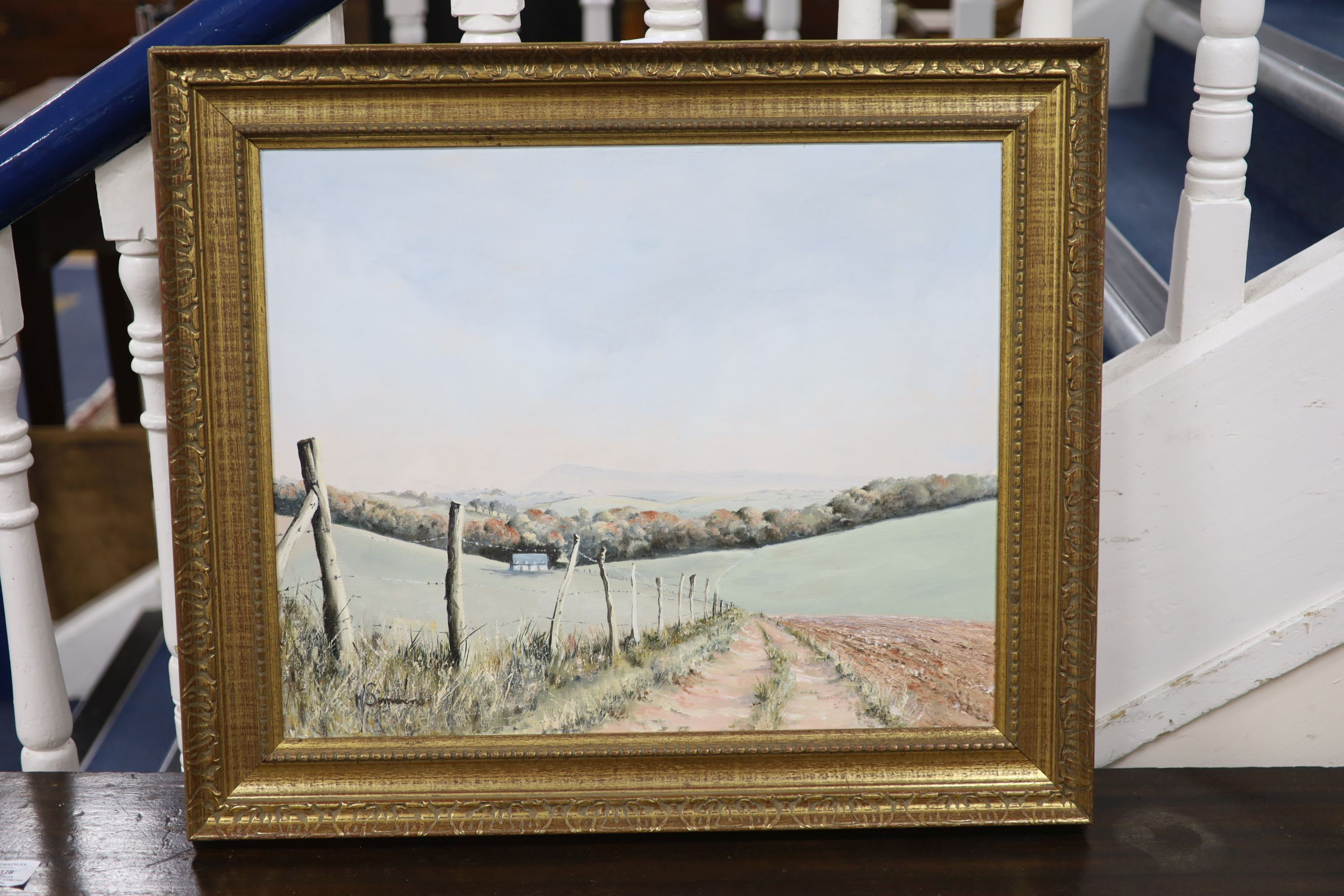 Michael Simmons, oil on canvas, The South Downs Way, signed, 45 x 55cm - Image 2 of 2