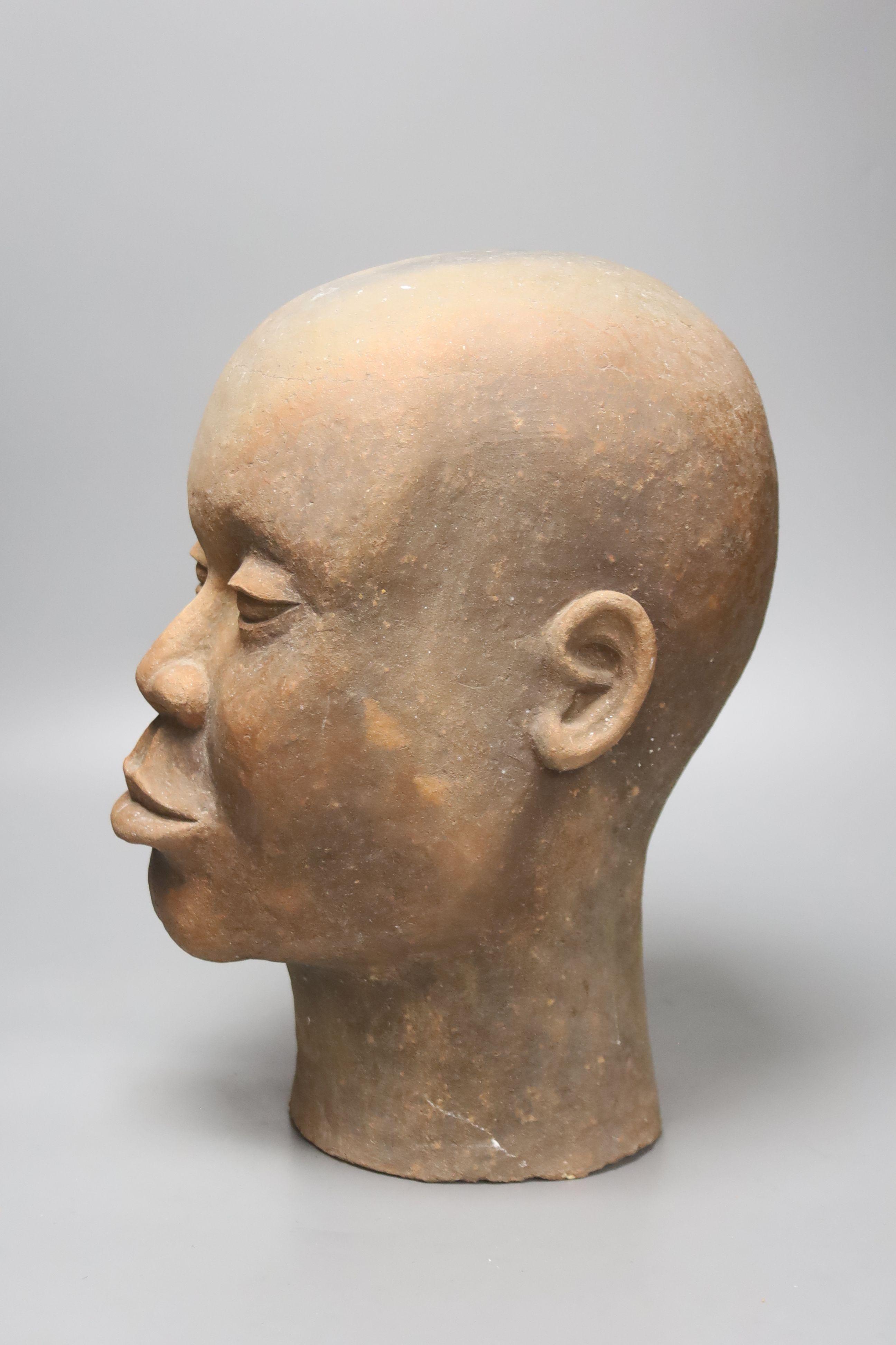 A large decoative terracotta head, 33cm high - Image 2 of 3