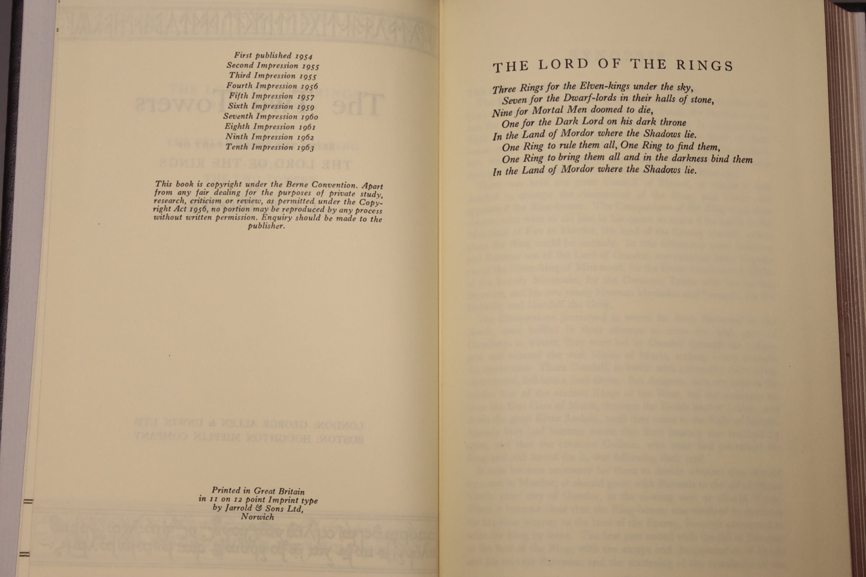 Tolkein, J.R.R. - The Fellowship of the Ring, The Two Towers, The Return of the King 1963, tenth and - Image 7 of 11