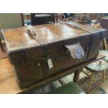 A Harrods leather trunk circa 1900, length 92cm, depth 58cm, height 33cm