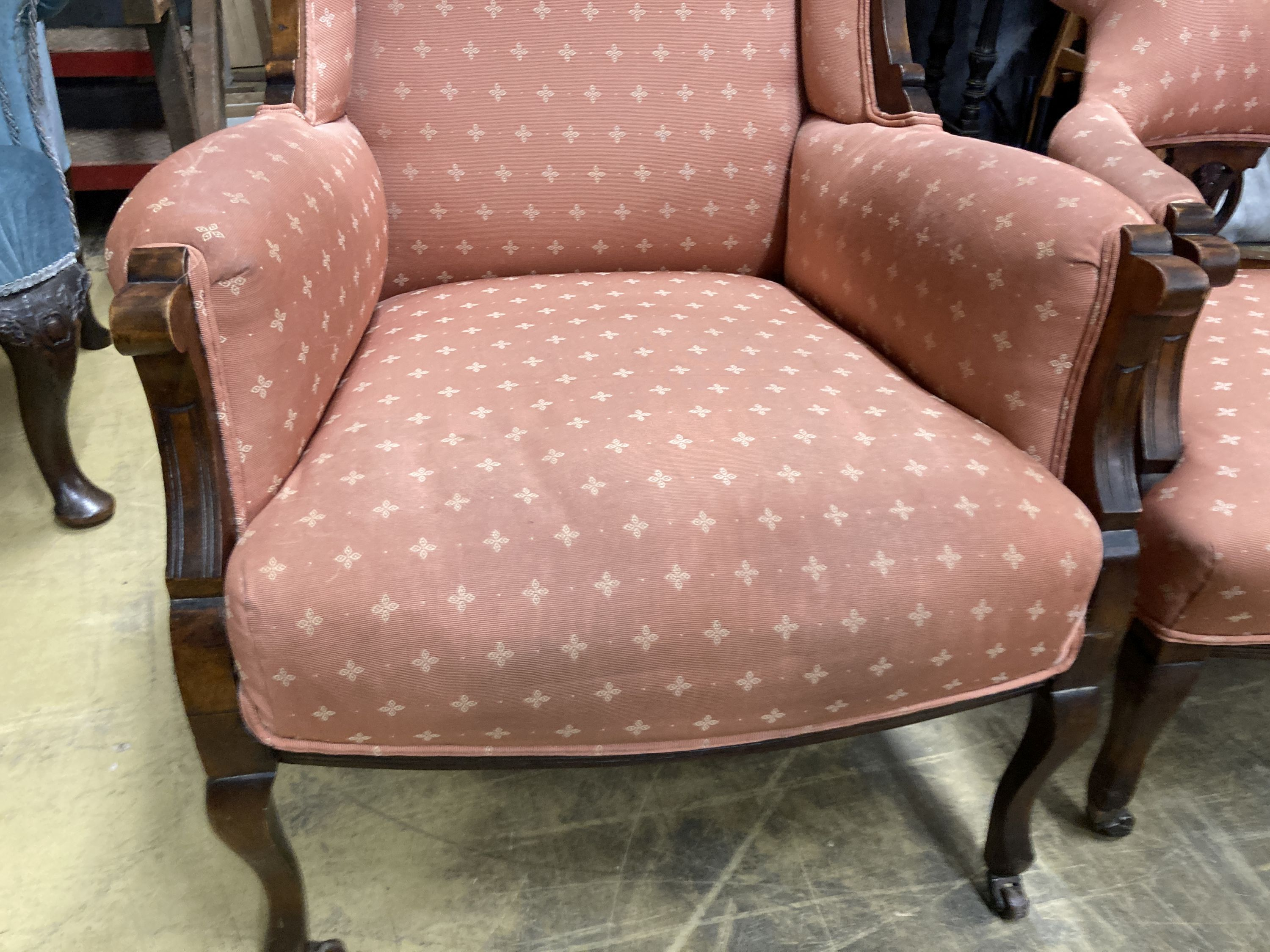 A late Victorian mahogany armchair together with a matching tub framed elbow chair - Image 4 of 6