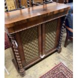 A William IV rosewood chiffonier (lacking superstructure), width 98cm, depth 34cm, height 92cm