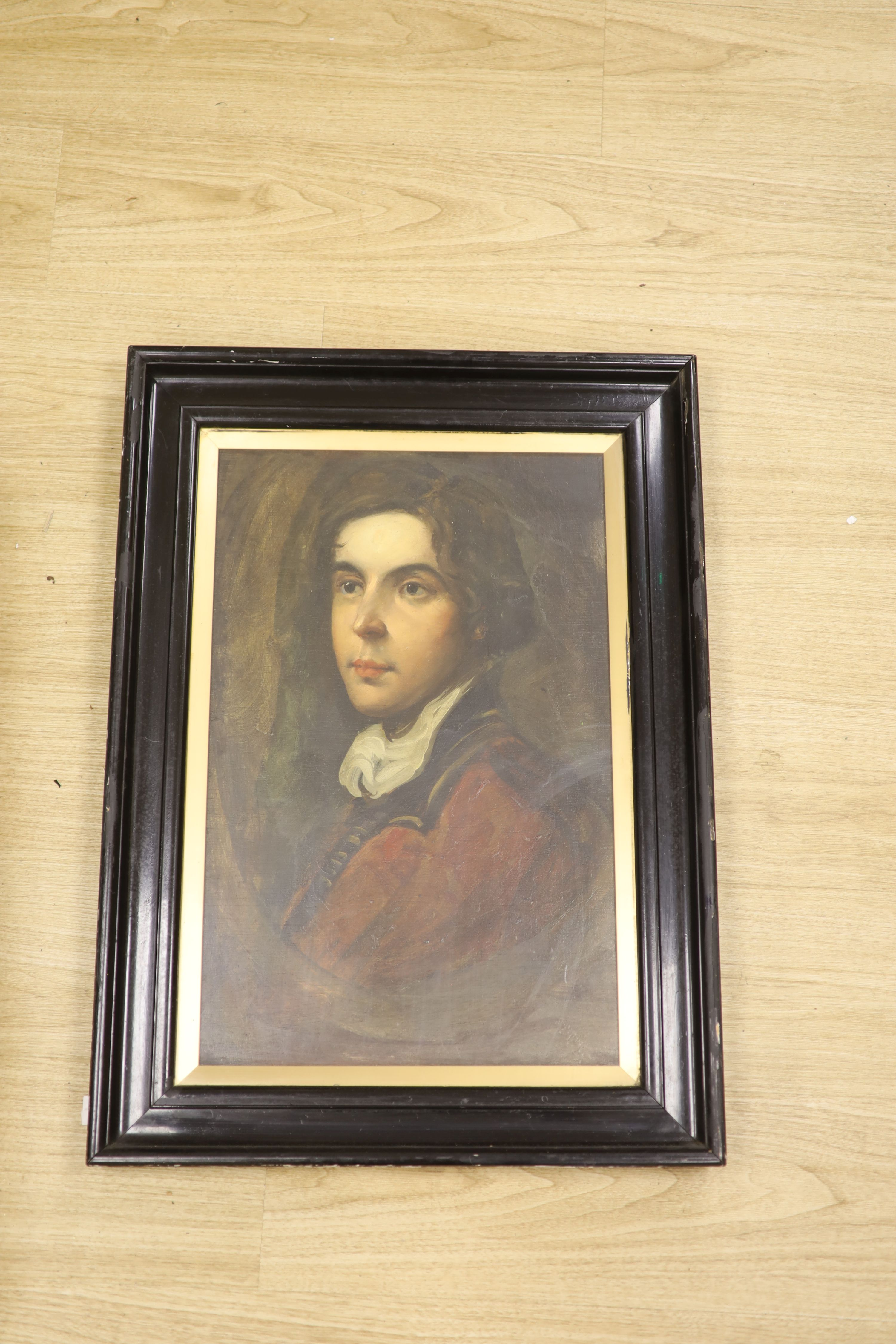 English School c.1910, oil on board, Portrait of an 18th century young man, 56 x 36cm - Image 2 of 2