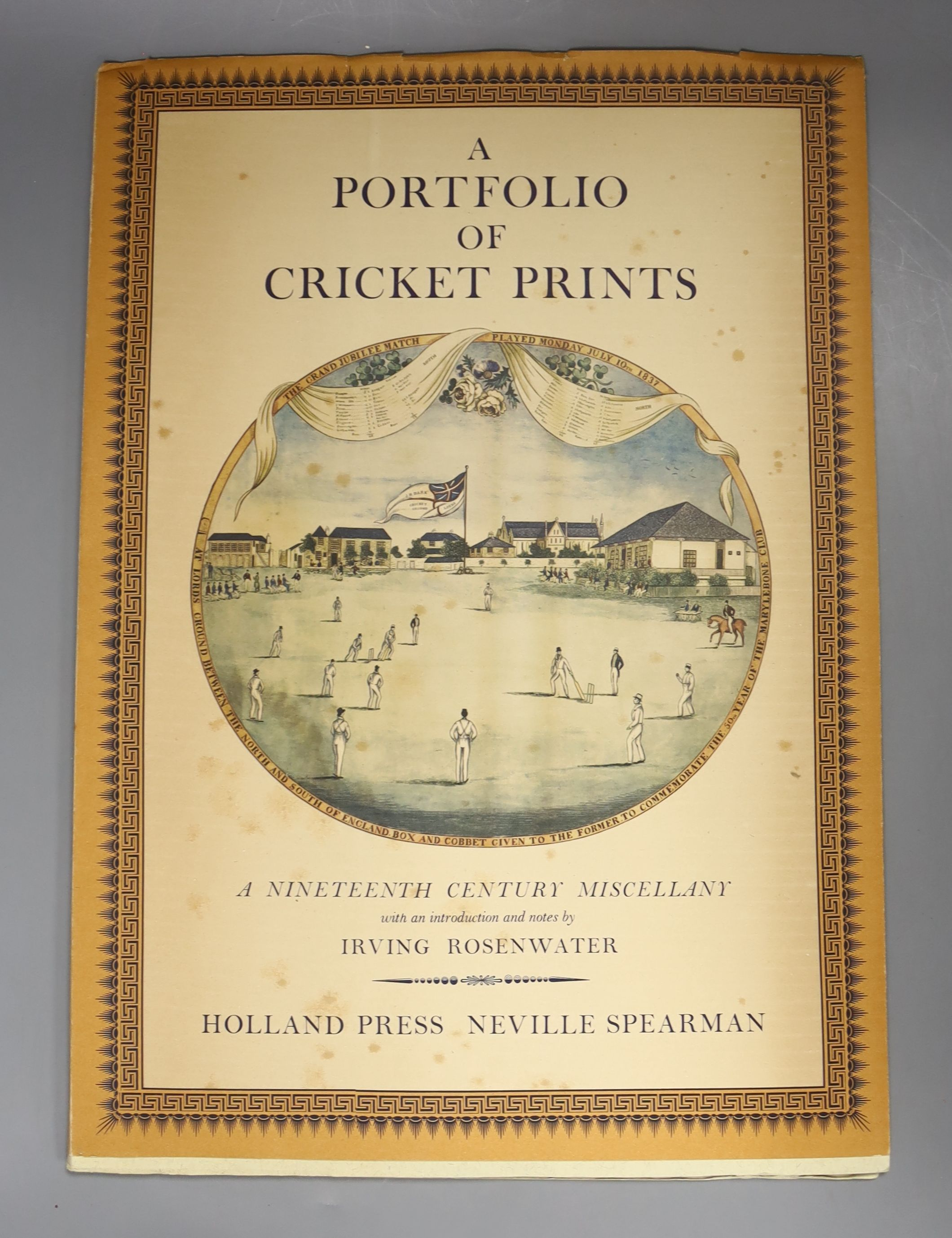 Rosenwater, Irving – A Portfolio of Cricket Prints: a nineteenth century miscellany, 8 coloured