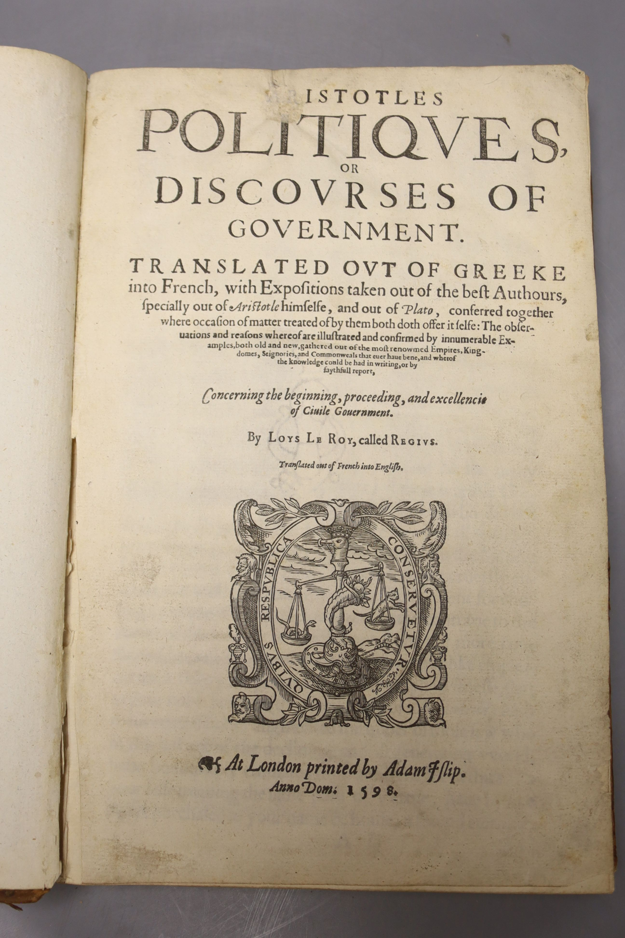 Aristotle – Aristotle's Politiques, or Discoures of Government, Translated out of Greeke into - Image 2 of 4