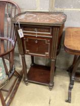A 19th century French marble top brass inlaid bedside cabinet, width 46cm, depth 35cm, height 90cm