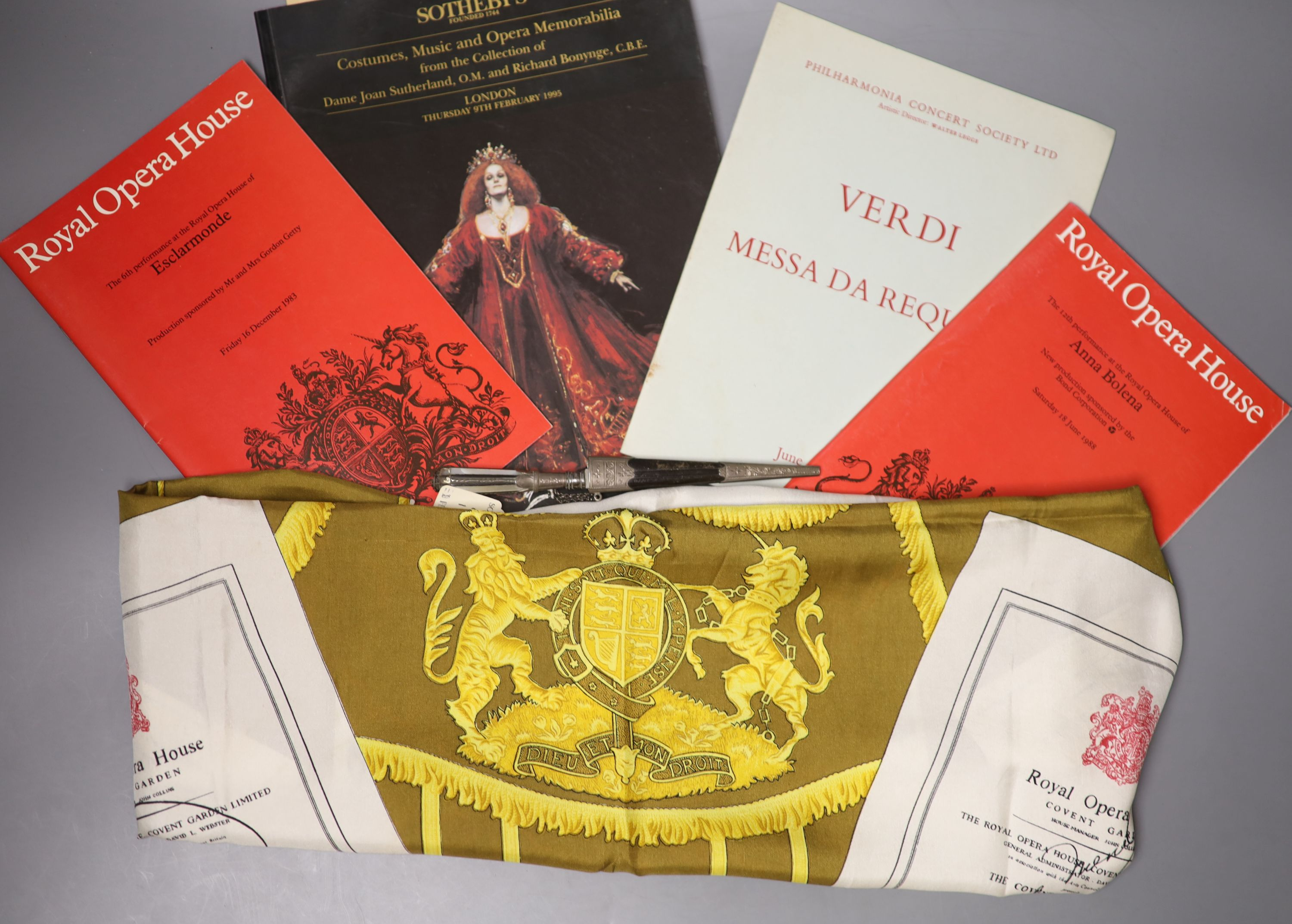 Dame Joan Sutherland memorabilia, including some Dirk sometimes used by Sutherland on stage - see