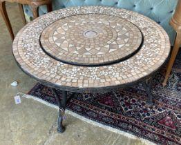 A mosaic top firepit
