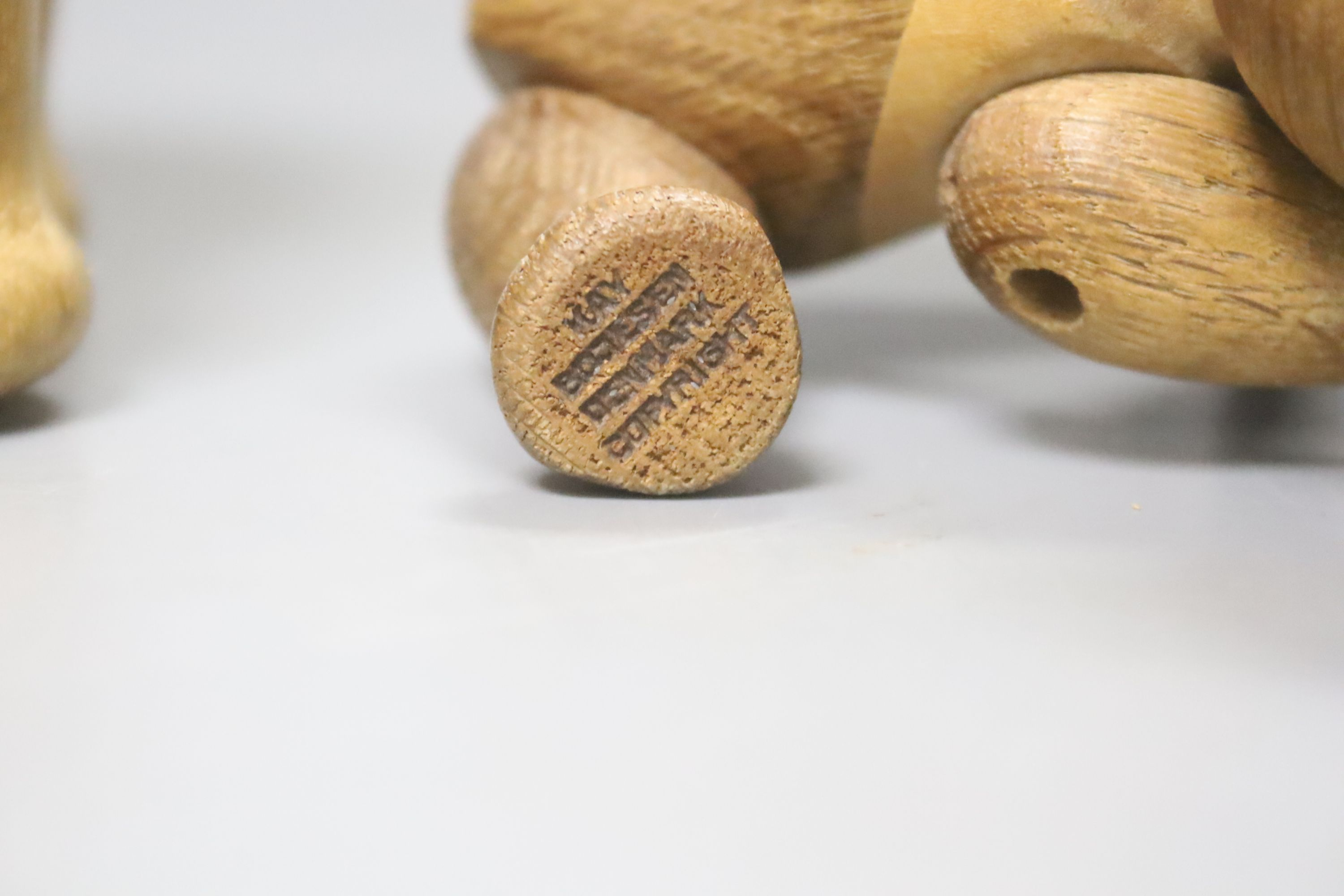 Two Danish carved wooden toys by Kay Bogesen, a standing elephant, 22cm length 14cm high and a - Image 3 of 4