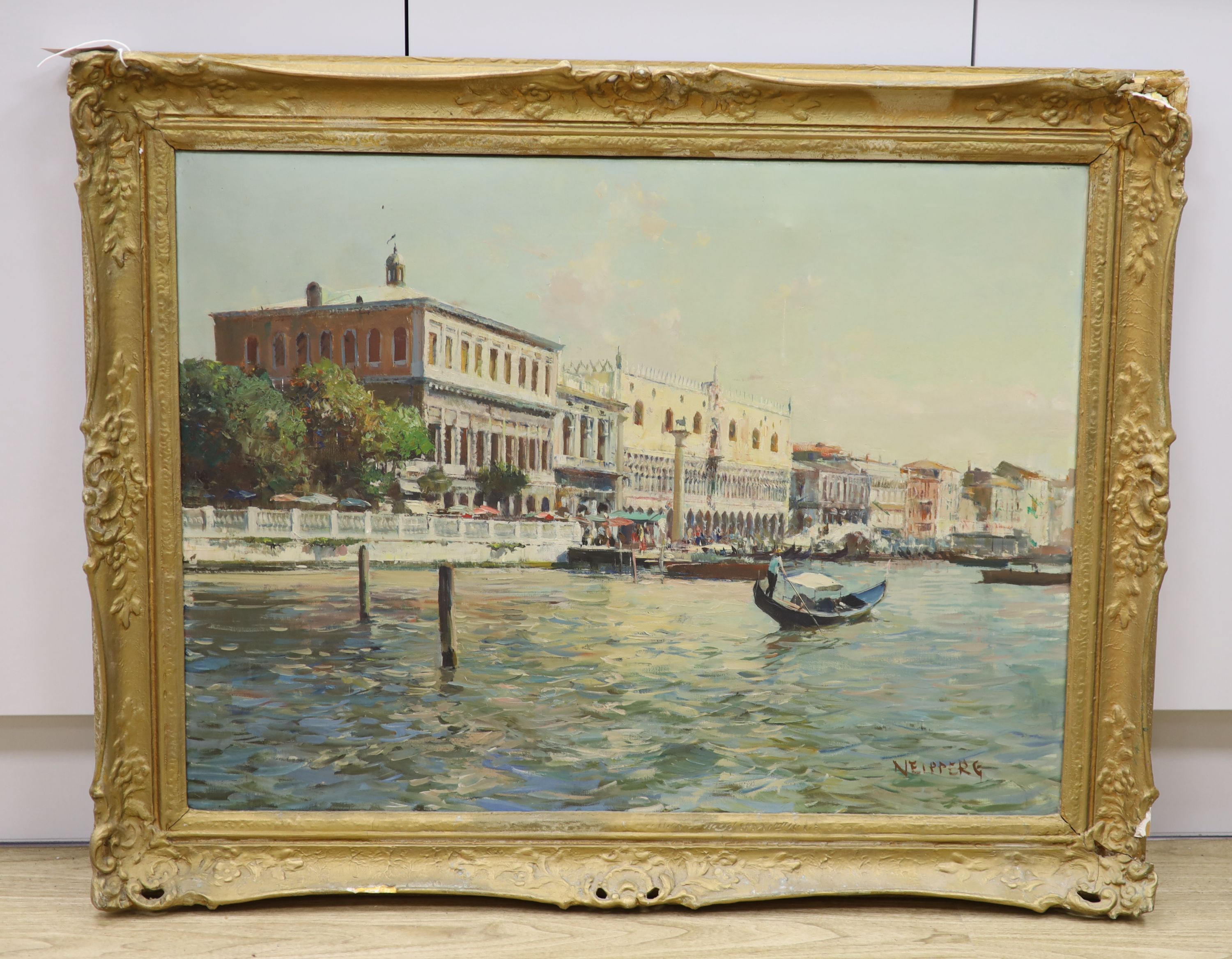 Italian School, oil on canvas, View of Venice, signed, 60 x 80cm - Image 2 of 3