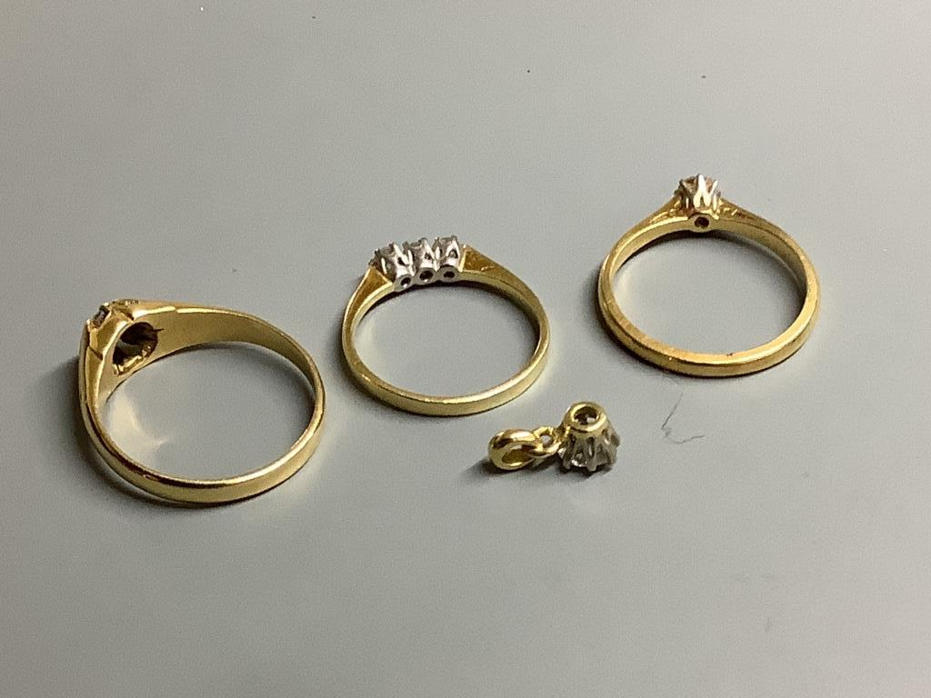 Three assorted 18 carat gold and diamond set dress rings, gross 8.3 g and yellow metal and diamond - Image 2 of 2