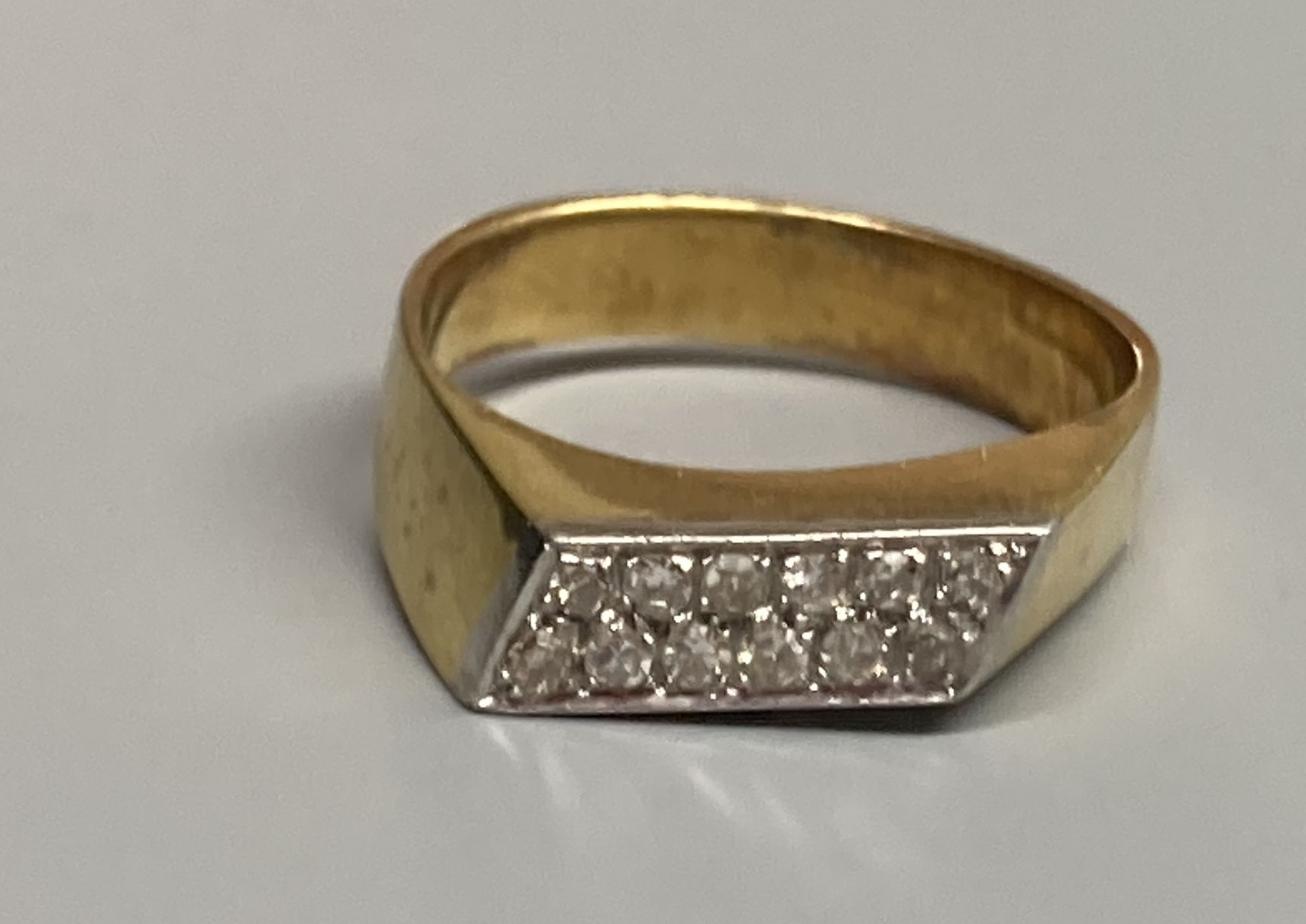 A modern 18k yellow metal and pave set two row diamond ring, size L/M, gross 4.8 grams.