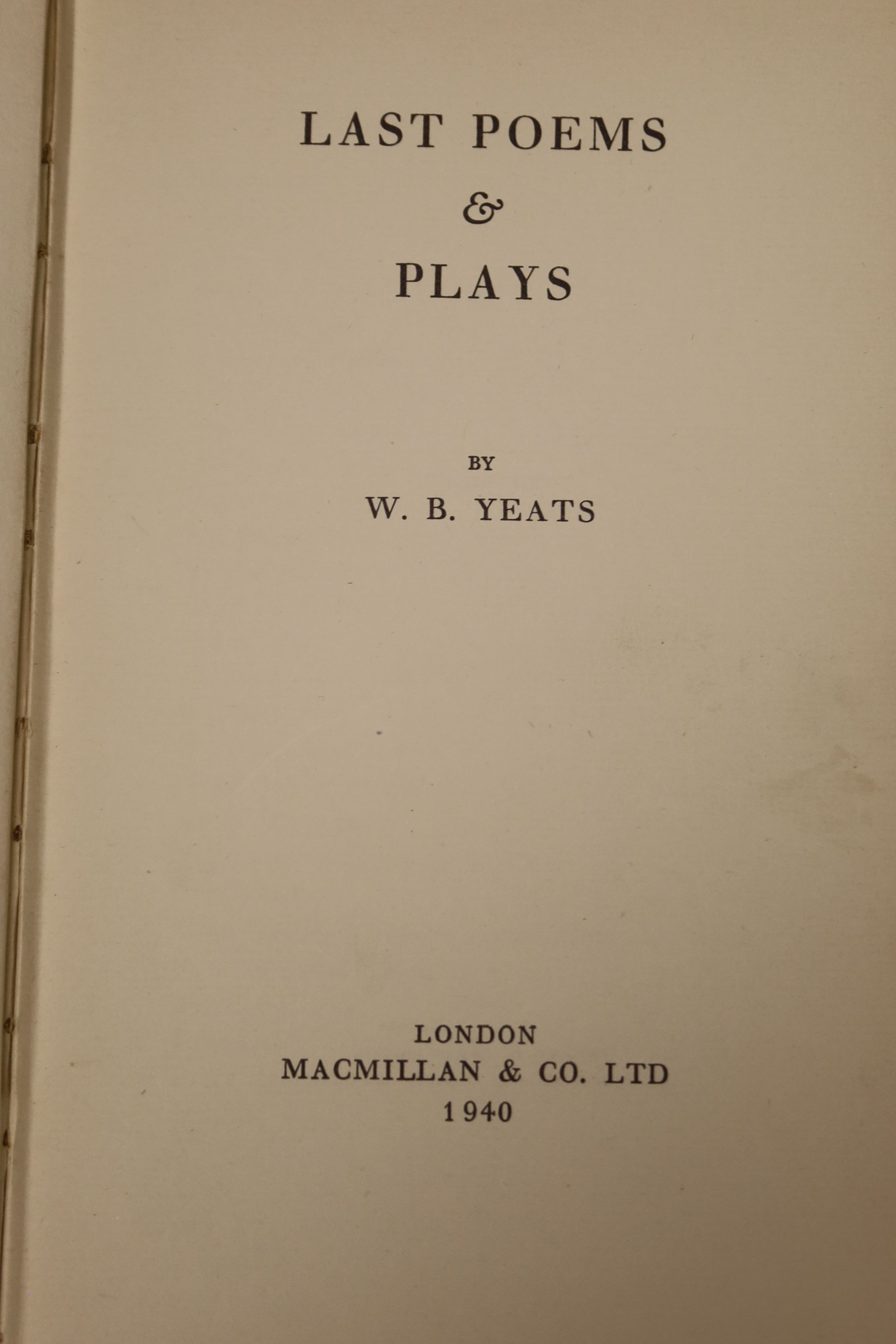 Yeats, William Butler - Last Poems, one of 2000,8vo, cloth, MacMillan, London 1940; Read, - Image 7 of 8
