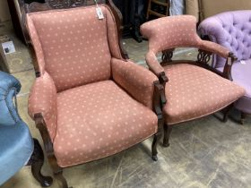 A late Victorian mahogany armchair together with a matching tub framed elbow chair