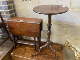 An early 20th century mahogany tripod wine table, 38cm diameter, height 74cm, together with an