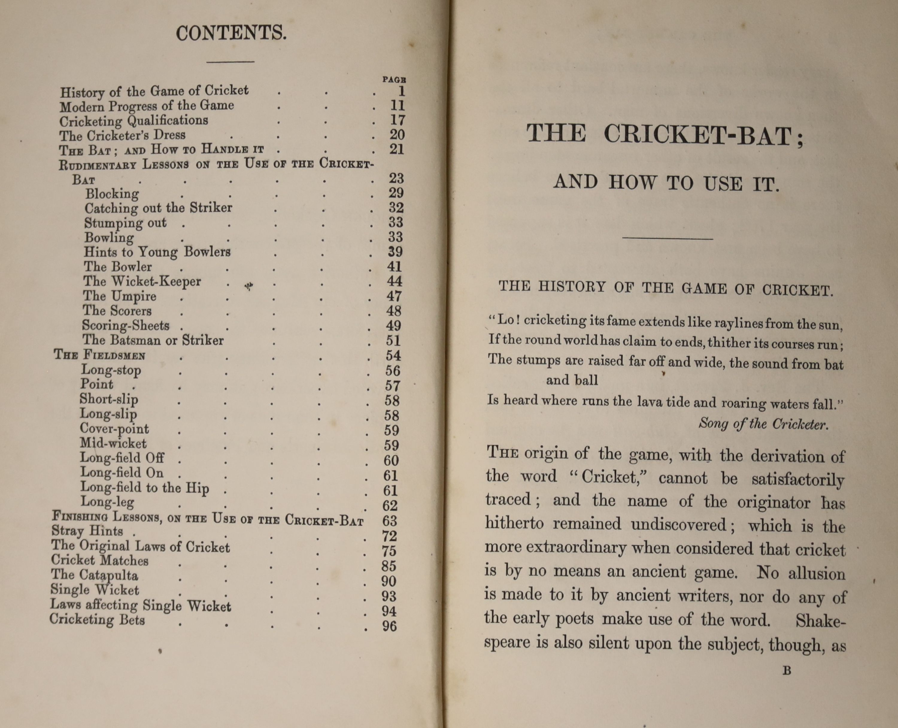 [Wanostrocht, Nicholas] - The Cricket-Bat; and How To Use It; a treatise on the game of cricket ..., - Image 4 of 5
