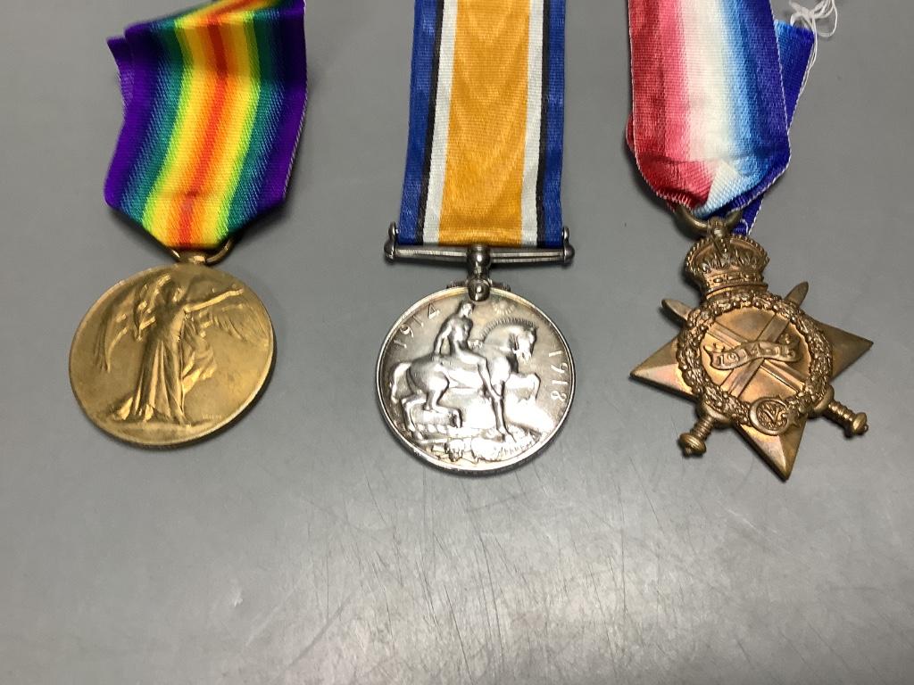 Two WW1 trios to SR3929 Gnr. G.Gration, R.A. & Y-707 Pte. J.Green, Kings Royal Rifle Corps