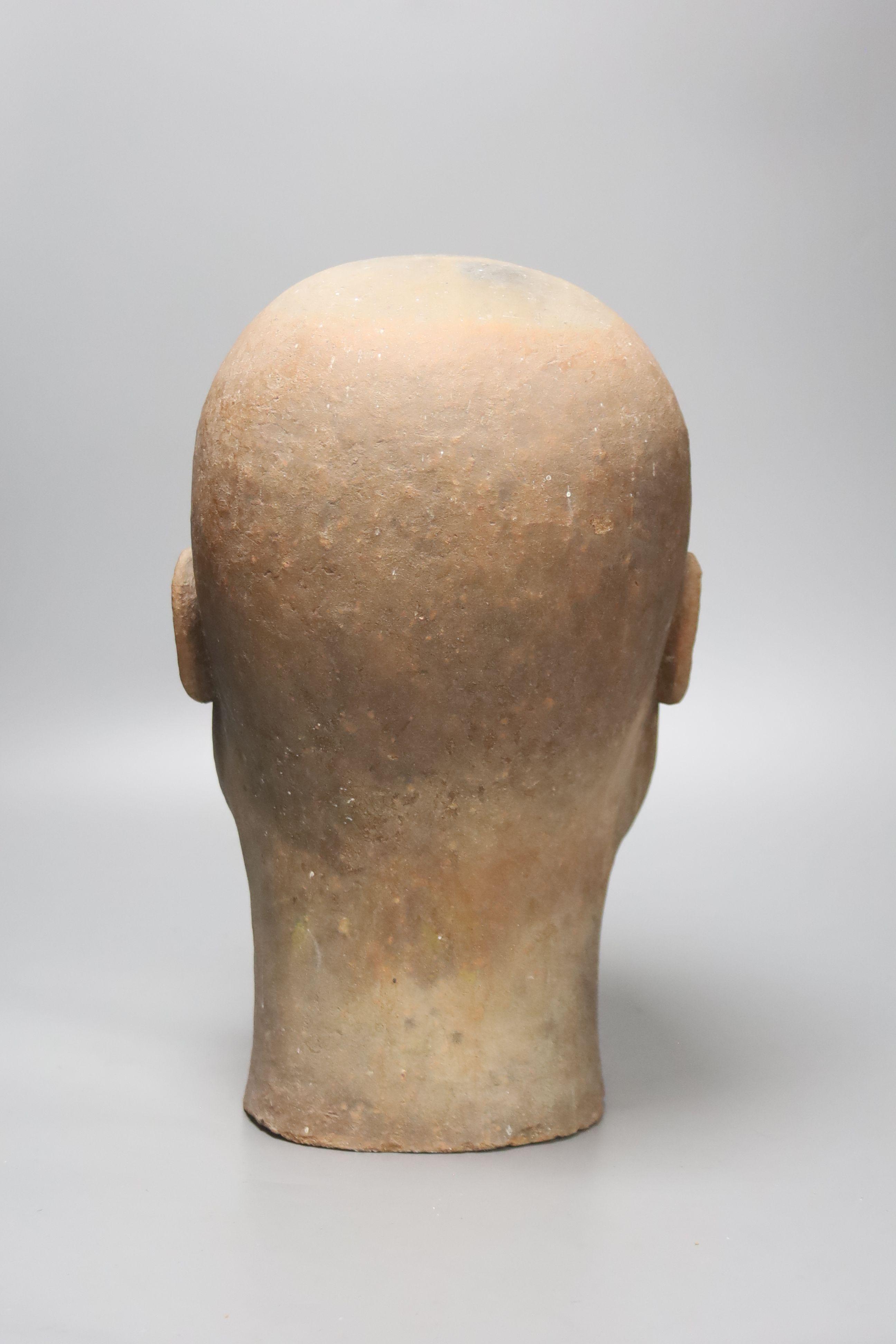 A large decoative terracotta head, 33cm high - Image 3 of 3