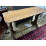 A Victorian rectangular oak side table, width 122cm, depth 51cm, height 76cm