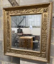 A 19th century rectangular giltwood and gesso wall mirror, width 75cm, height 80cm