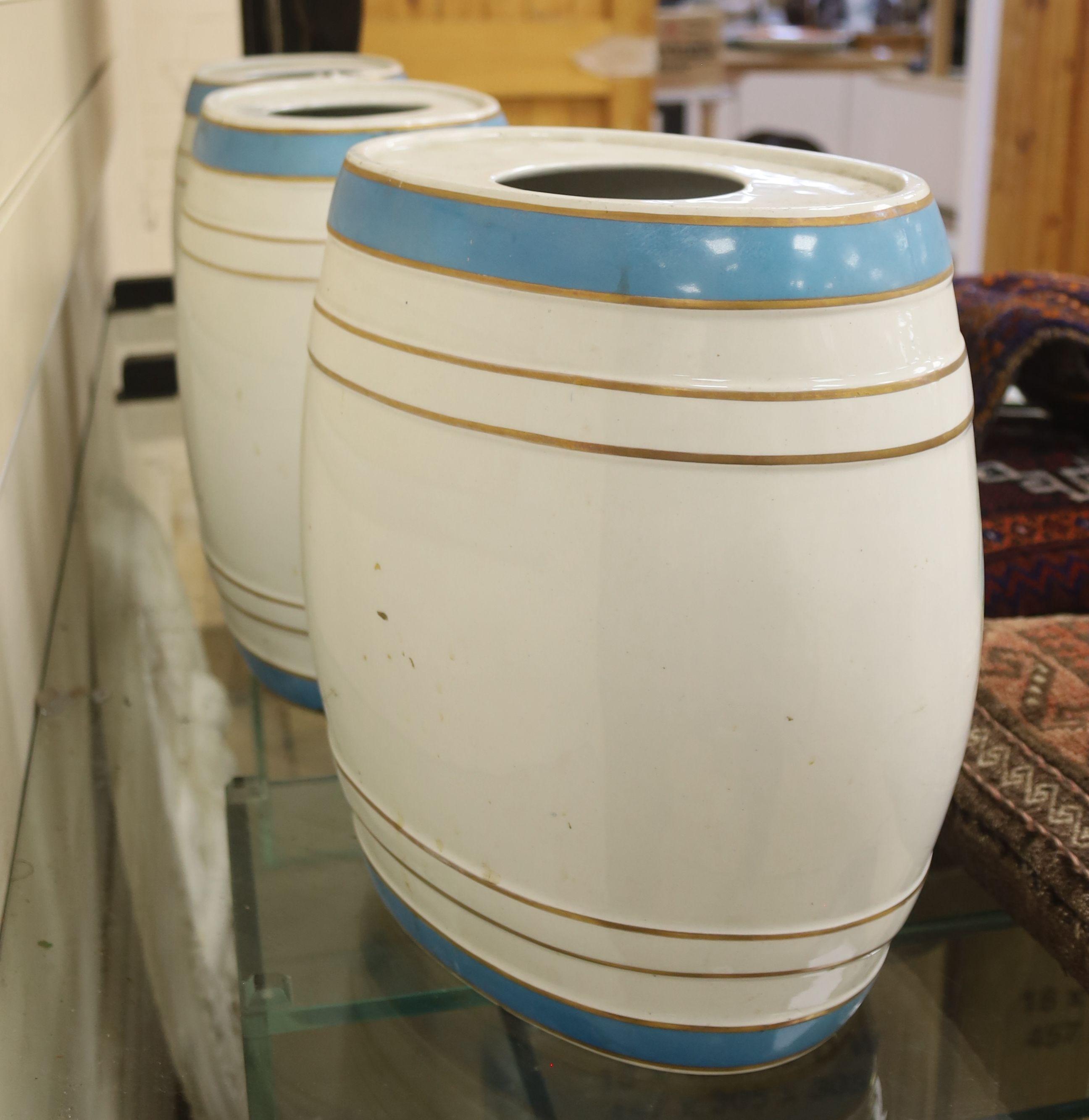 Three ceramic spirits barrels: Brandy, Rum and Whisky, 34cm high - Image 3 of 3