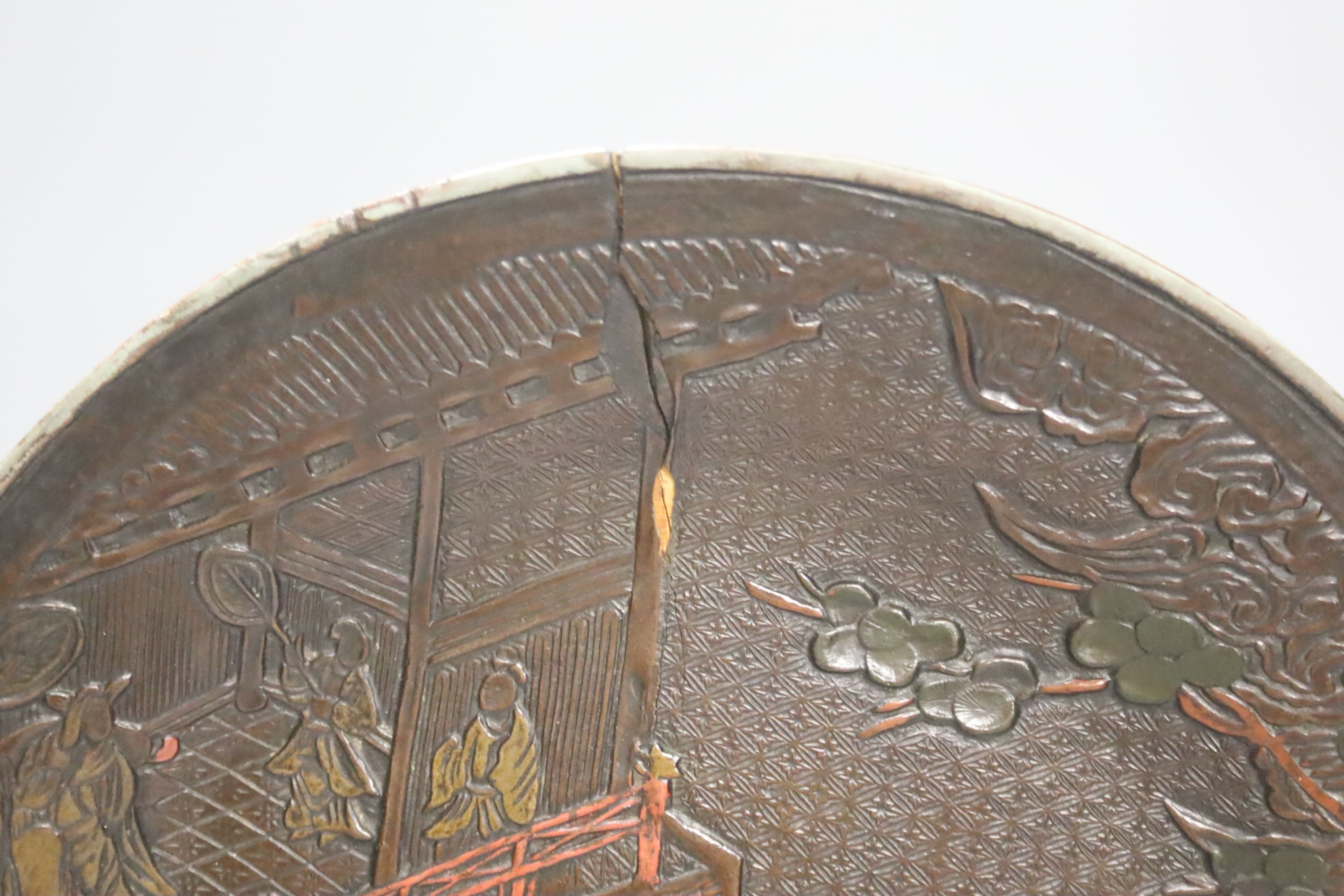 A Qianlong carved lacquer dish, diameter 29cm - Image 2 of 4