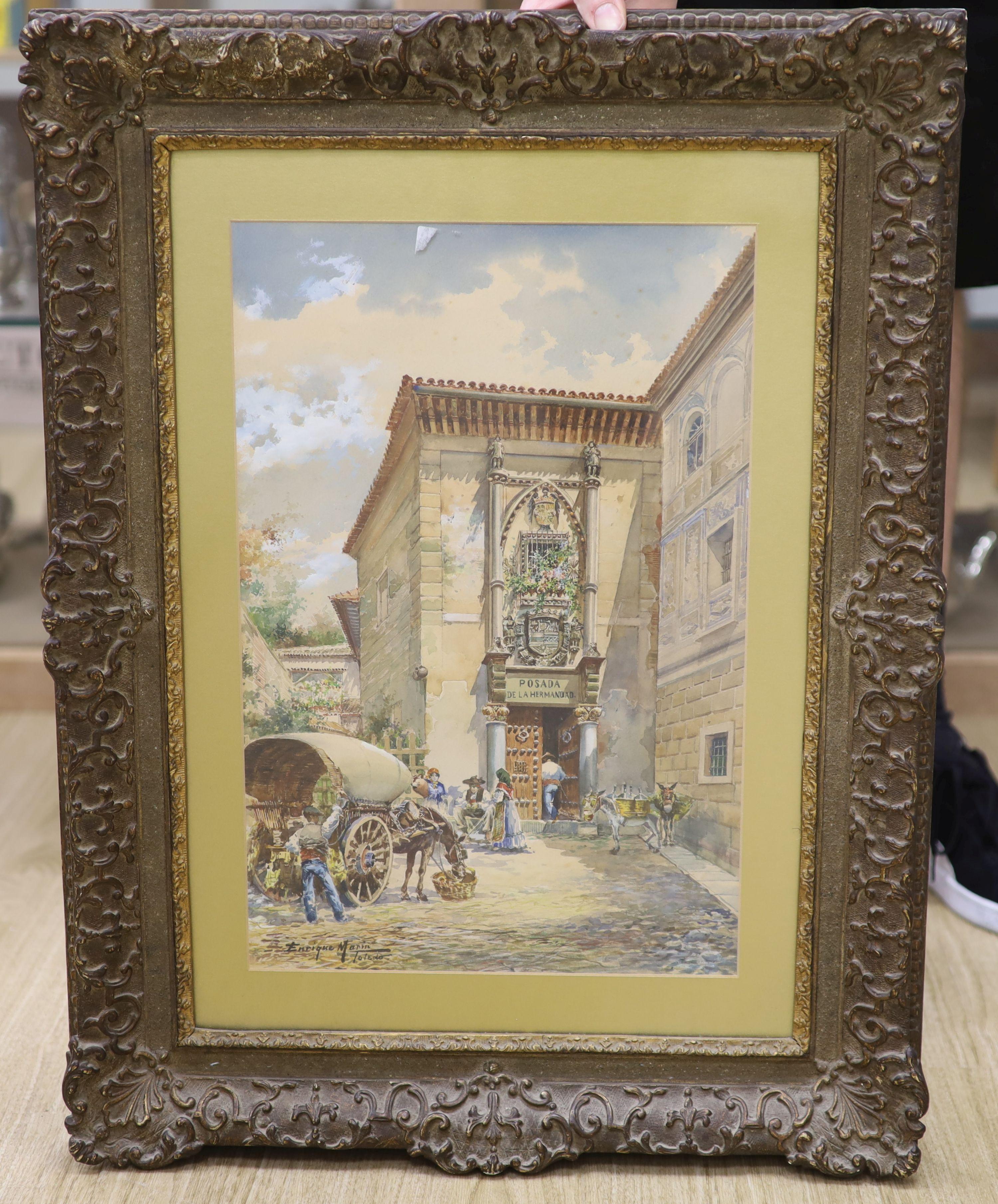 Enrique Marin (1876-1940), watercolour, Posada de la Hermandad, Toledo, Spain, signed, 46 x 30cm - Image 4 of 4