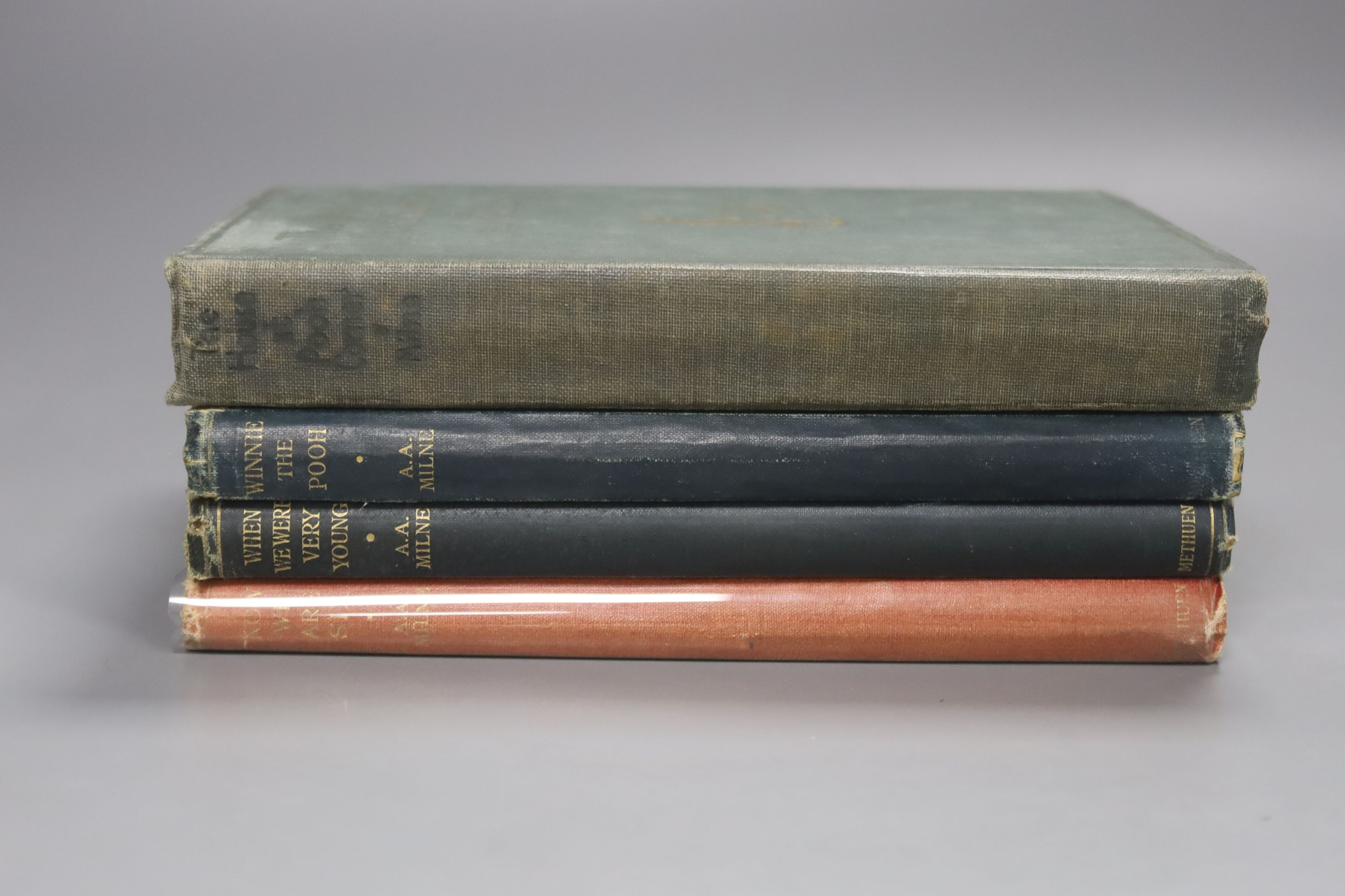 Milne, A.A – Winnie The Pooh, second edition, 8vo, cloth bound, (dj missing, inscribed, scuffs to