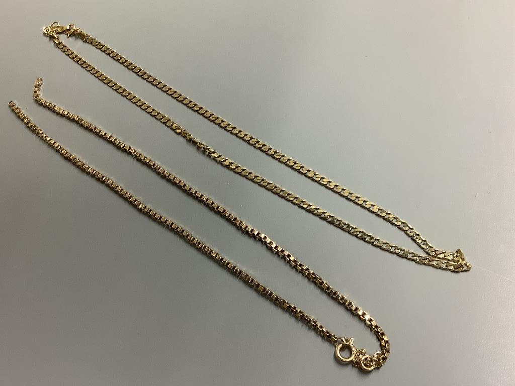 Two 9ct gold chain necklaces, 22.4g (one broken)