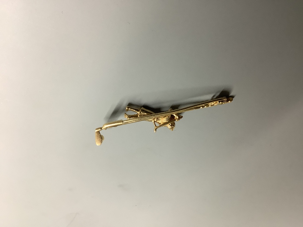 A modern 9ct gold and seed pearl set bar brooch, modelled as a golfer and golf club, 56mm, gross 4.8 - Image 2 of 2