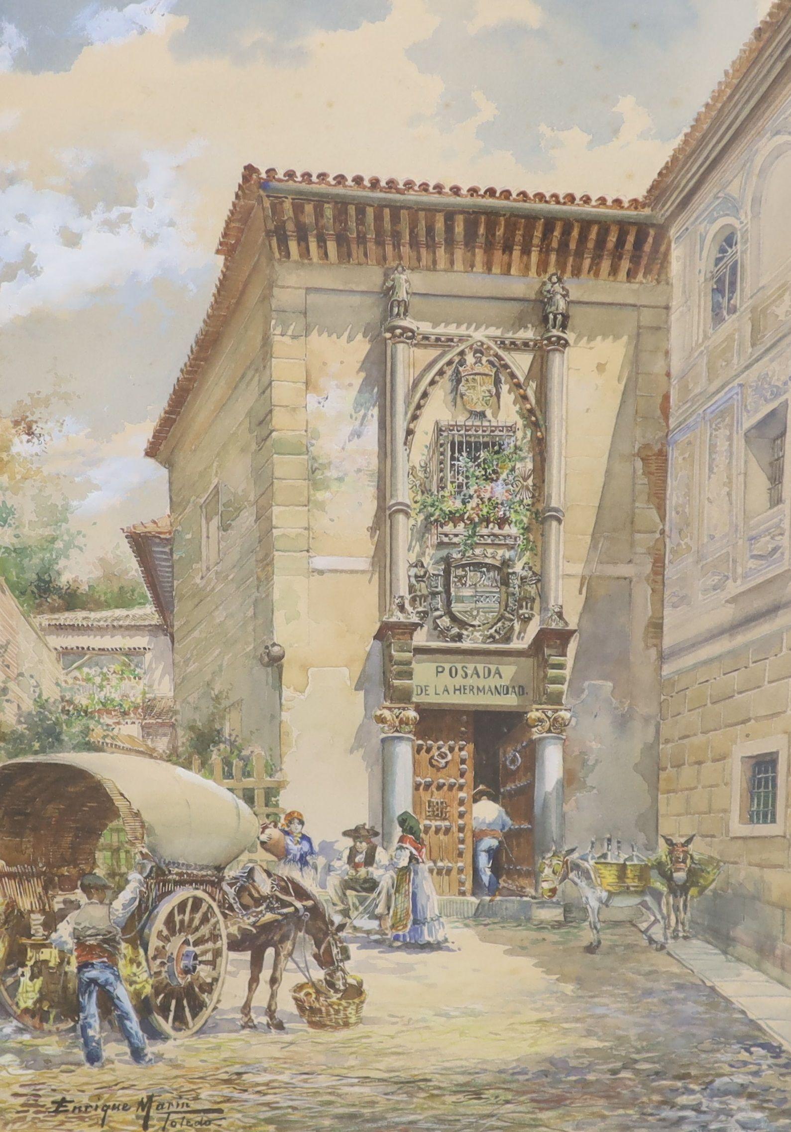 Enrique Marin (1876-1940), watercolour, Posada de la Hermandad, Toledo, Spain, signed, 46 x 30cm
