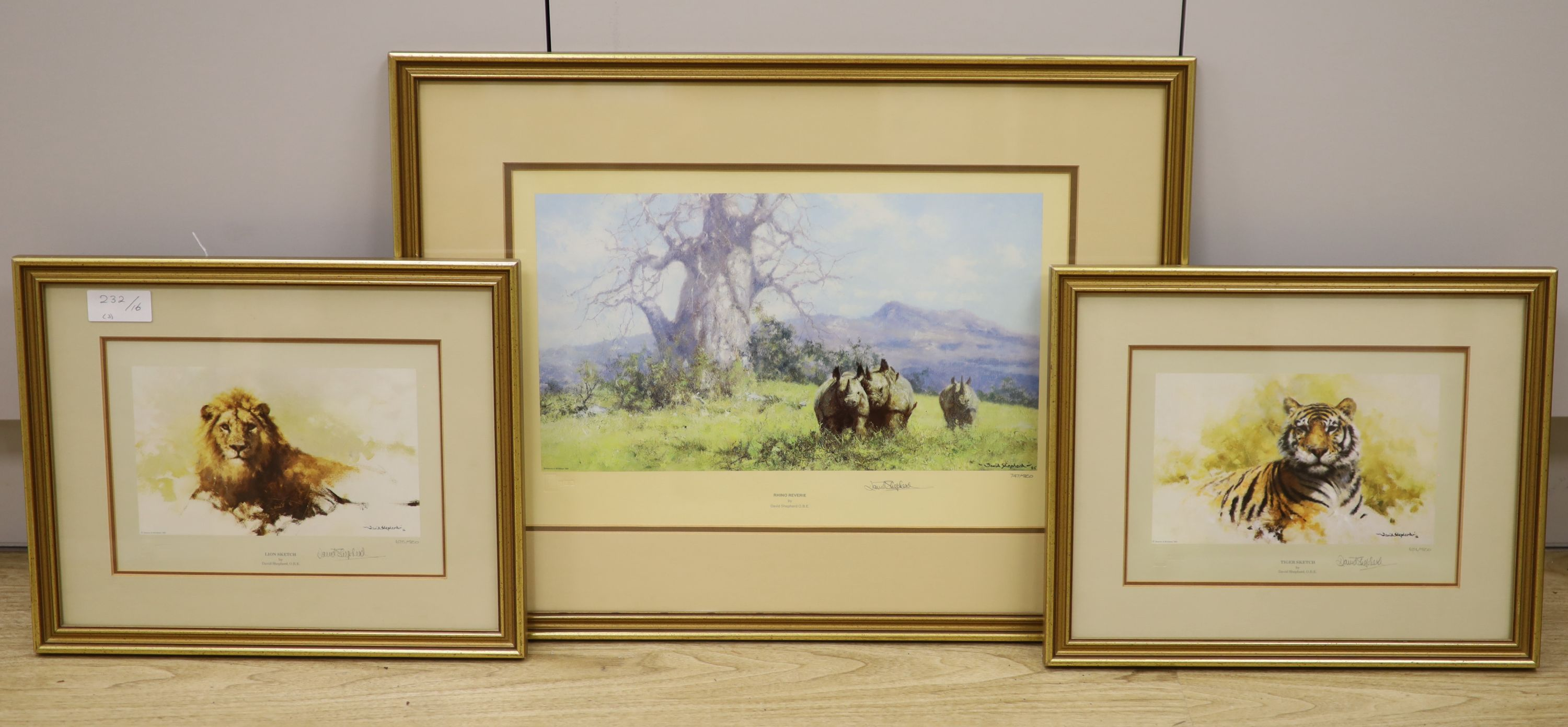 Three David Shepherd limited edition prints; Lion Sketch, Tiger Sketch and Rhino Reverie, signed