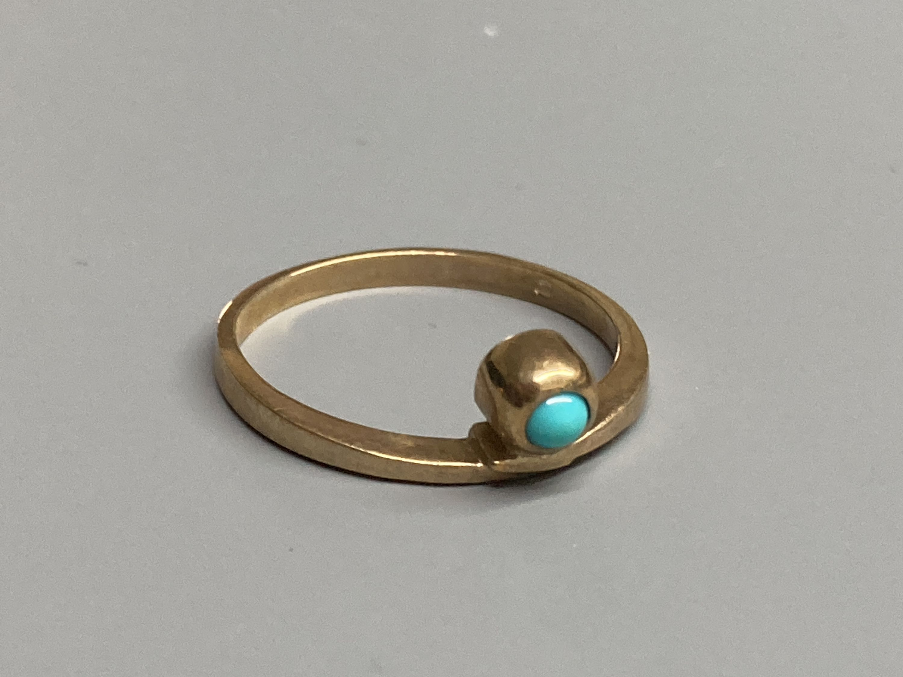 Four assorted modern 9ct gold and gem set rings, a 9ct gold signet ring(cut) and a white metal - Image 6 of 7