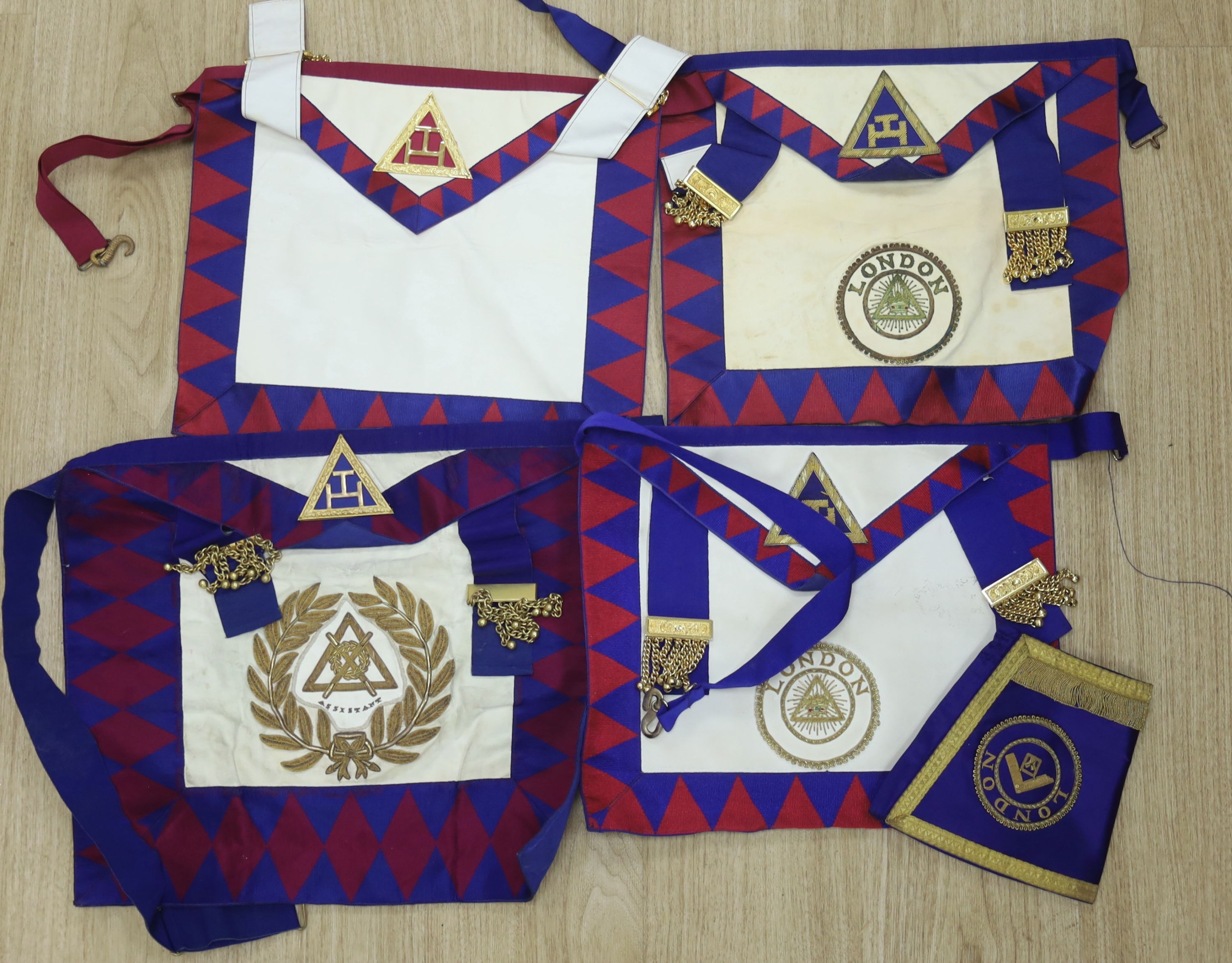 A large collection of Masonic aprons and sashes for London, etc. - Image 2 of 4