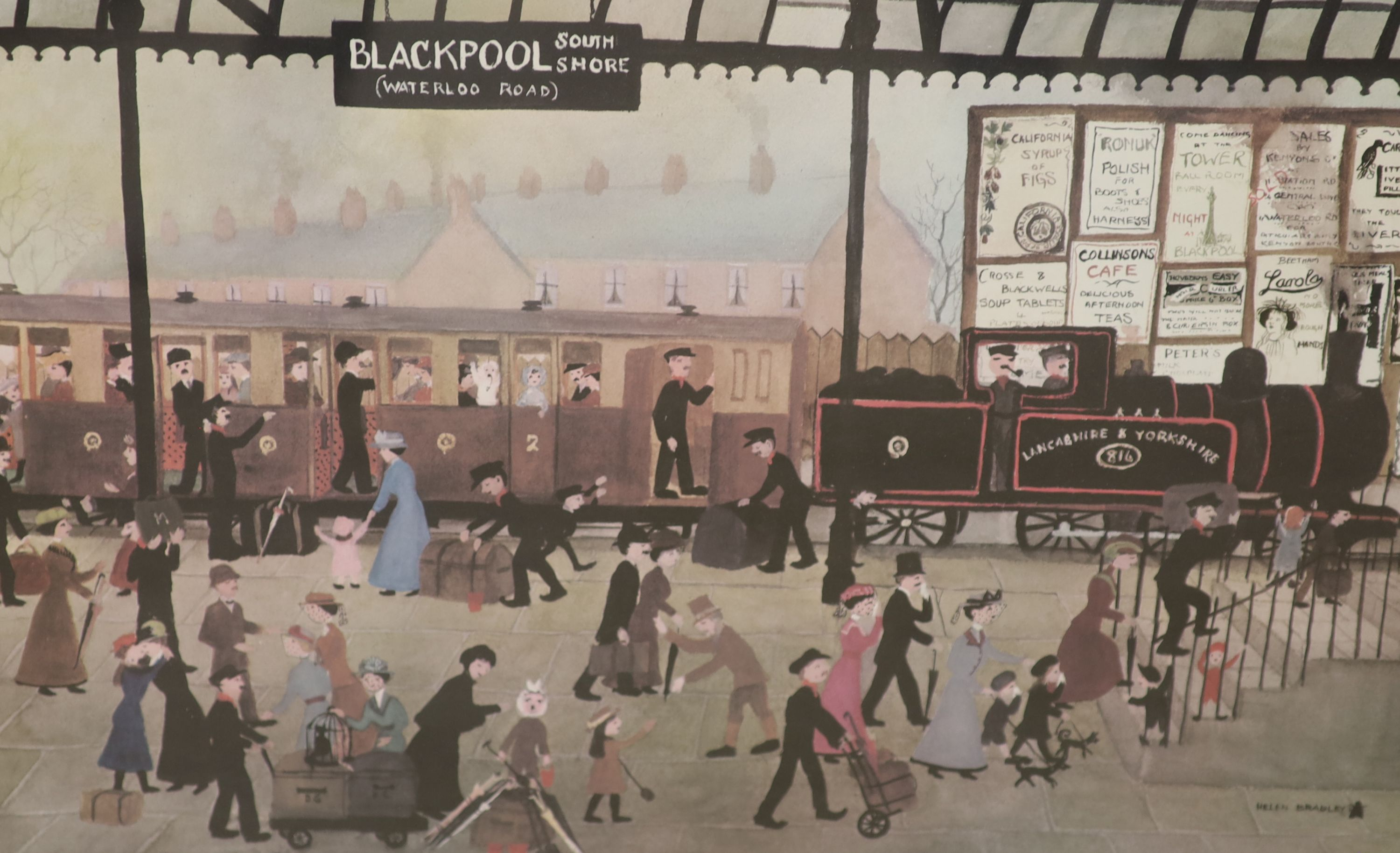 Helen Bradley, two signed prints, Blackpool Station and Blackpool Sands, both signed in pencil, - Image 2 of 3