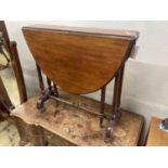 An Edwardian mahogany Sutherland table, width 75cm, depth 18cm, height 71cm