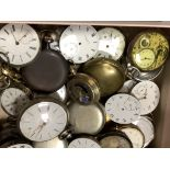 A collection of assorted base metal pocket watches and movements including Zenith & Longines,