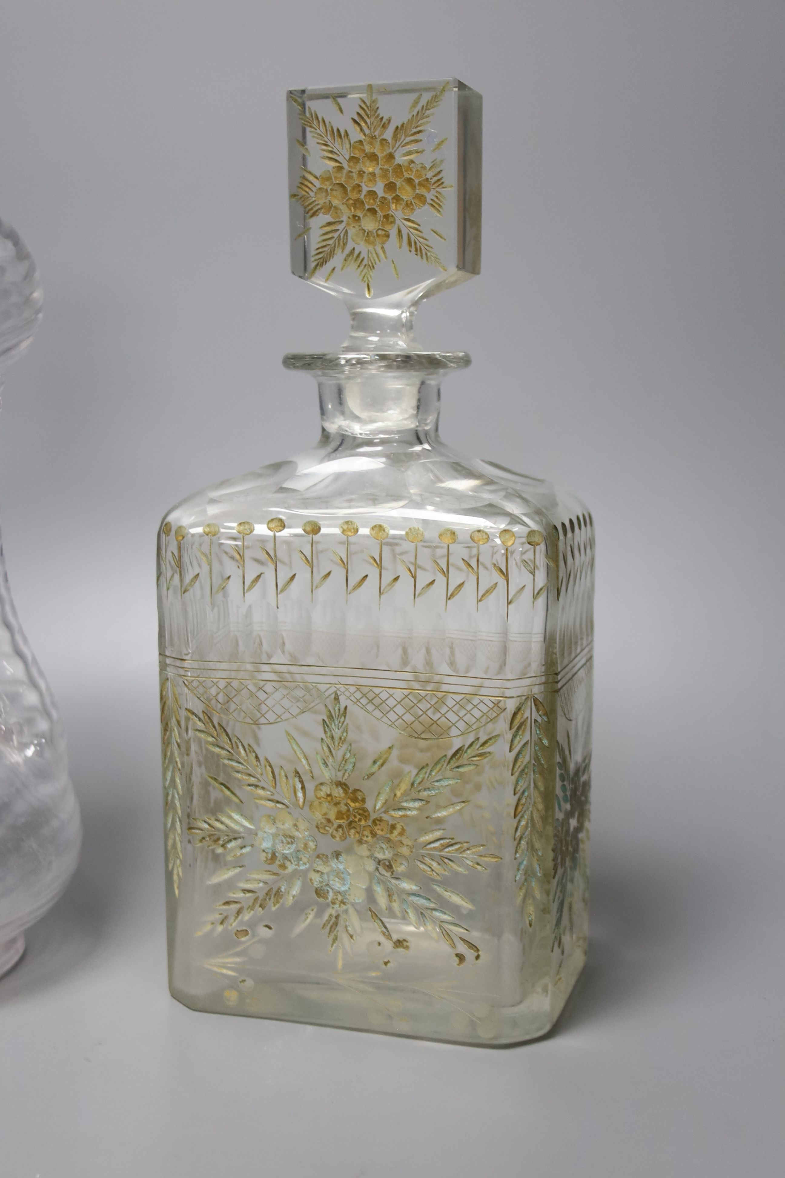 A Victorian wrythen moulded hour glass shaped decanter, with silver collar, 31cm high, togoether - Image 2 of 4