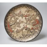 A Chinese laquer dish, carved with storks in a landscape, six character Zhengde marks, 34.5cm
