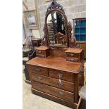 A Victorian mahogany dressing chest, width 118cm, depth 52cm, height 192cm