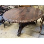 A George IV circular rosewood tilt top breakfast table, 138cm diameter, height 72cm