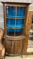 An Edwardian mahogany bowfront narrow display cabinet, width 60cm, depth 36cm, height 164cm