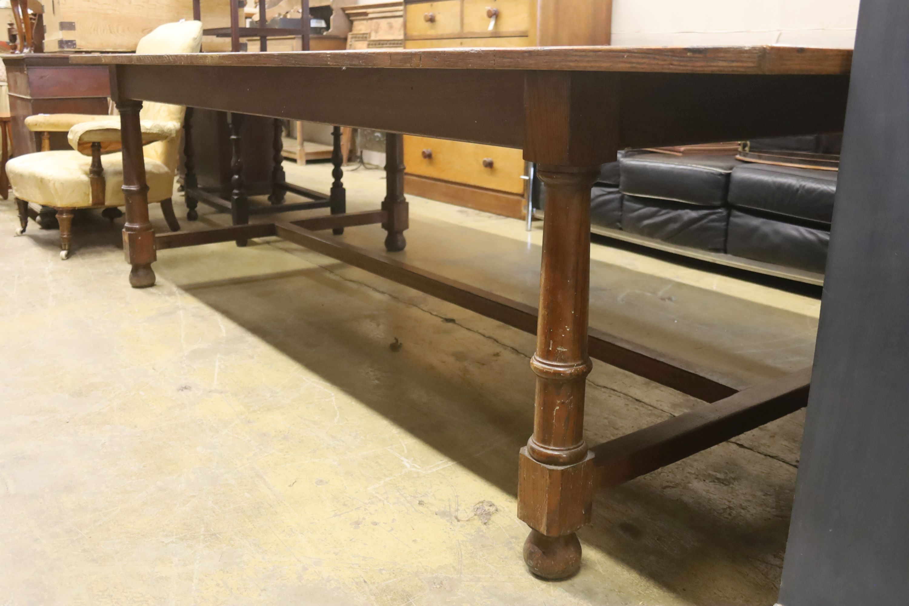 A large oak and pine refectory table, length 274cm, depth 122cm, height 76cm - Image 2 of 6