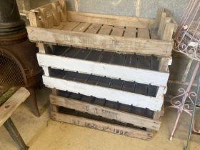 Five vintage wood fruit crates, width 75cm, height 46cm