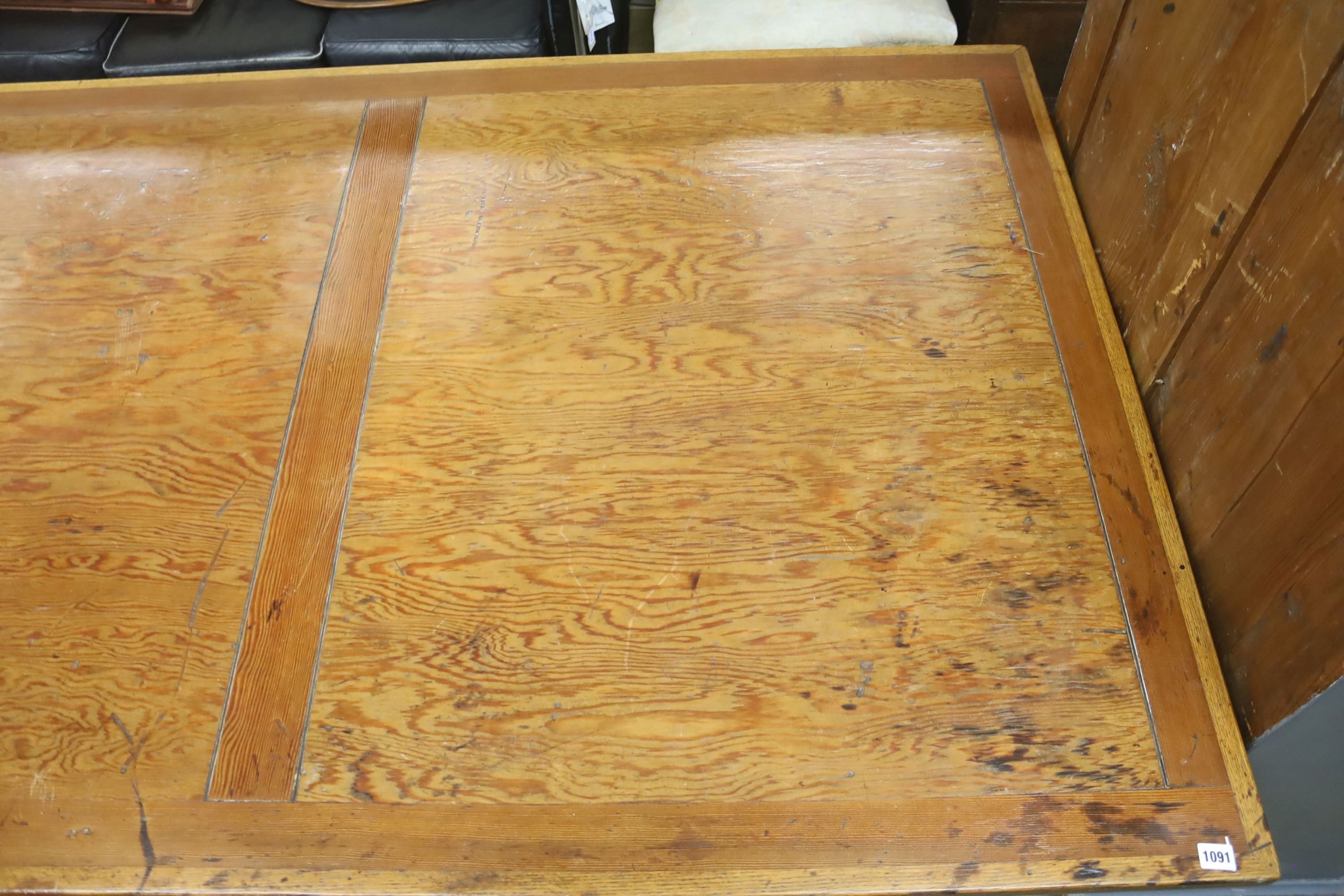 A large oak and pine refectory table, length 274cm, depth 122cm, height 76cm - Image 3 of 6